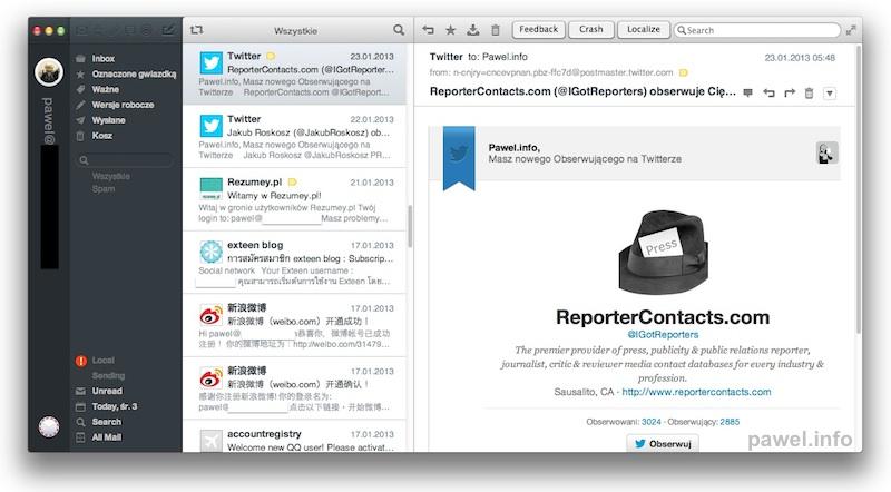 Airmail app Mac OS X