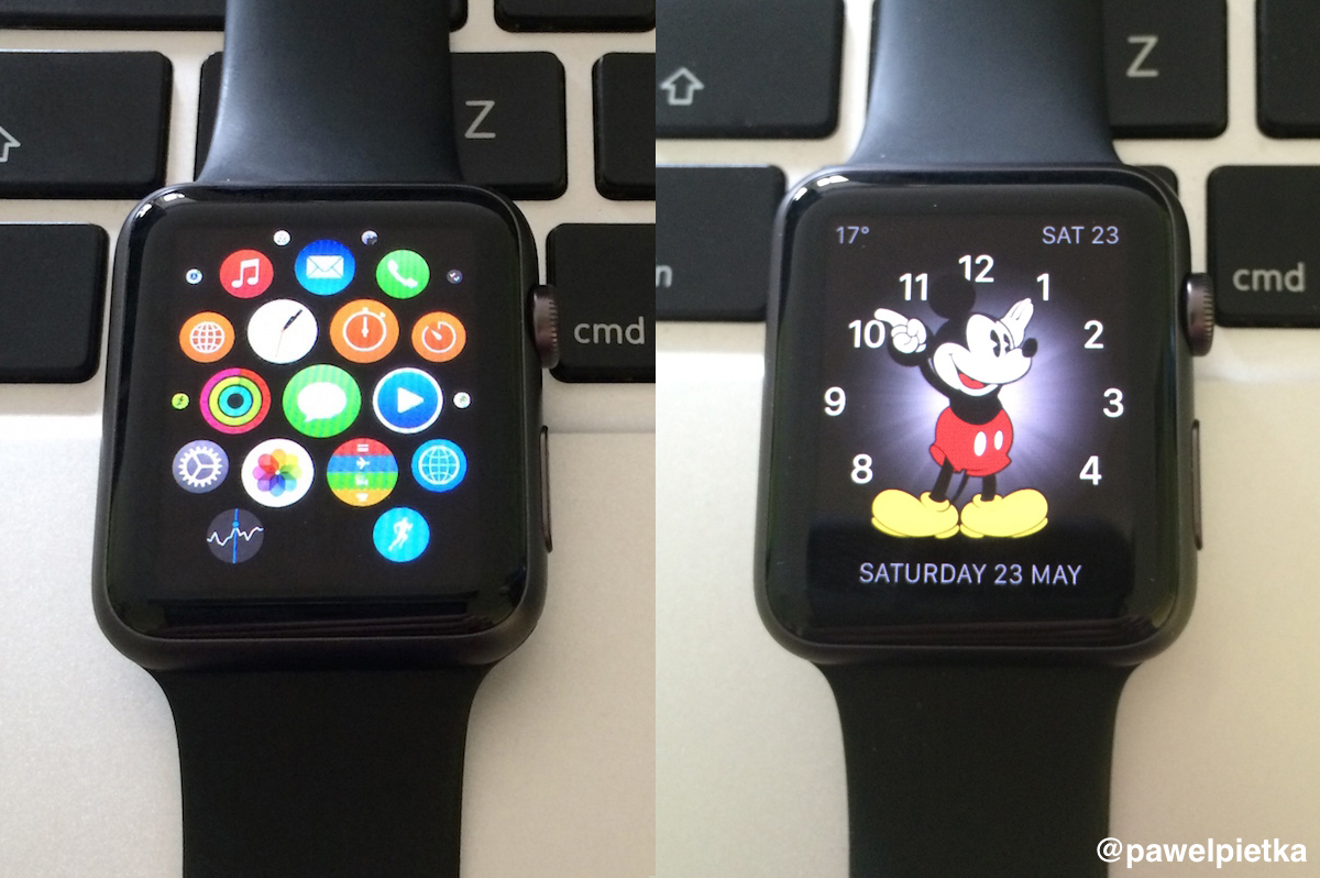 Apple Watch menu glowne i myszka