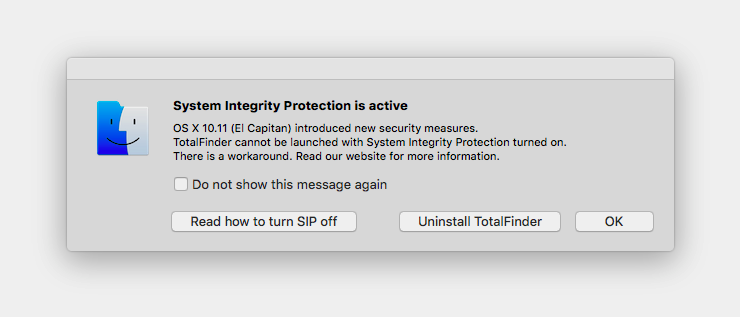 El Capitan System Integrity Protection TotalFinder