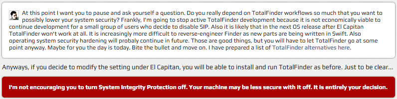 El Capitan TotalFinder over